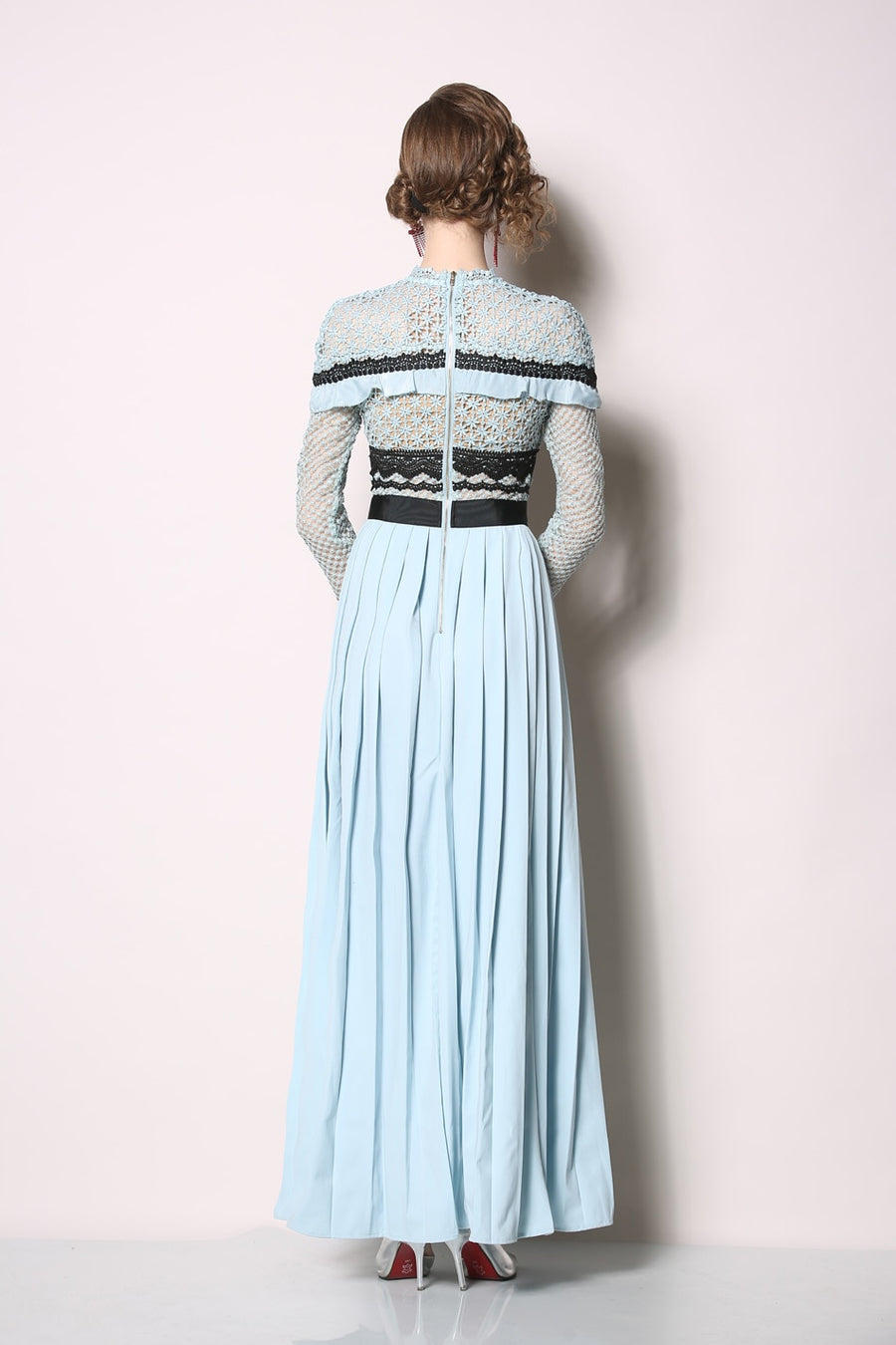 Blue Lace Hollow Out Pleated Hem Maxi Dress