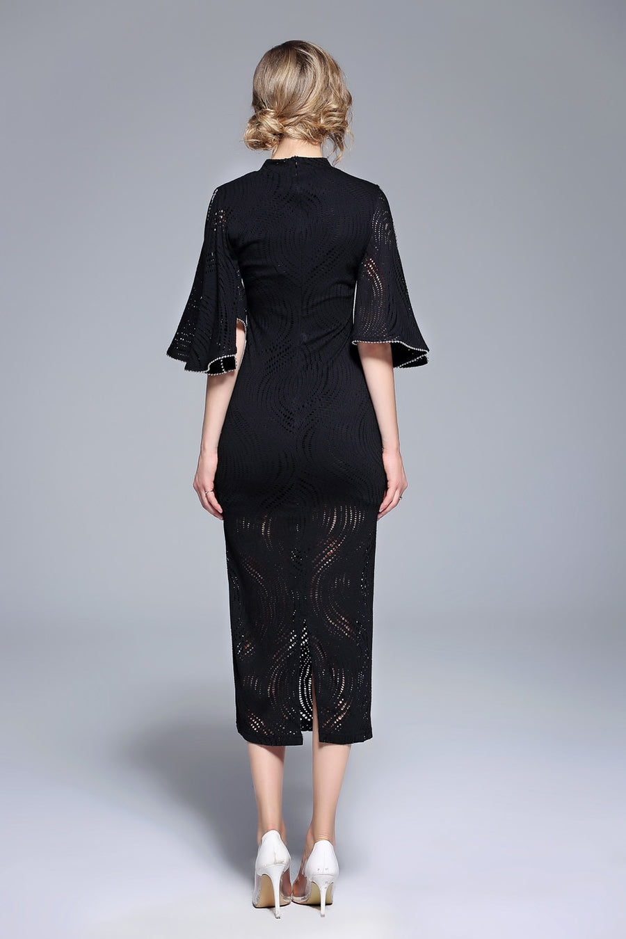 Black Ruffle Sleeve Lace Hollow Out Slim Bodycon Dress