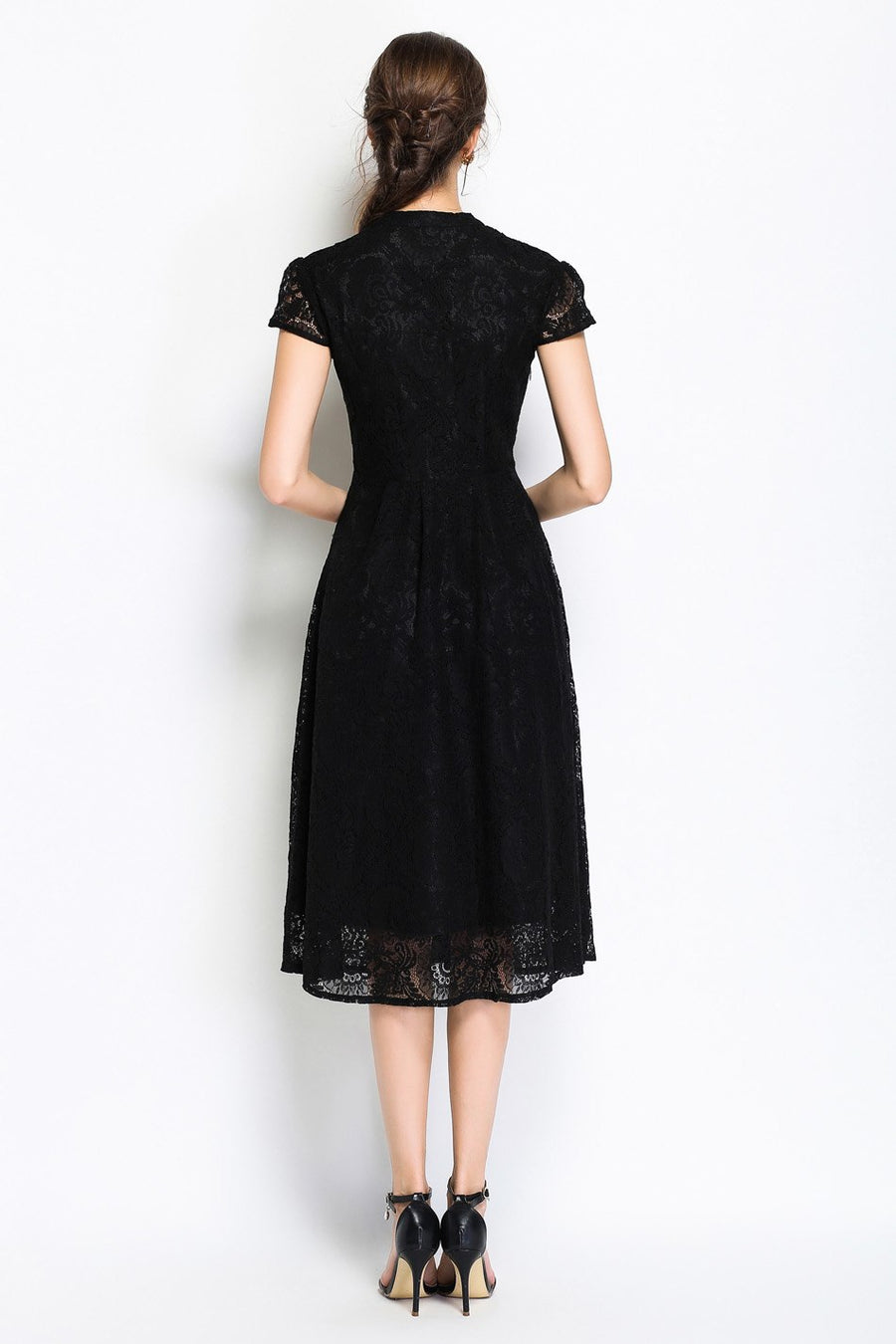 Black V-neck Lace Hollow Out Slim A-line Midi Dress with Buttons Front