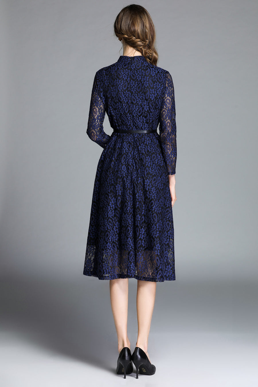 Blue Lace Floral Hollow Out Midi Dress with Buttons Front Decoration