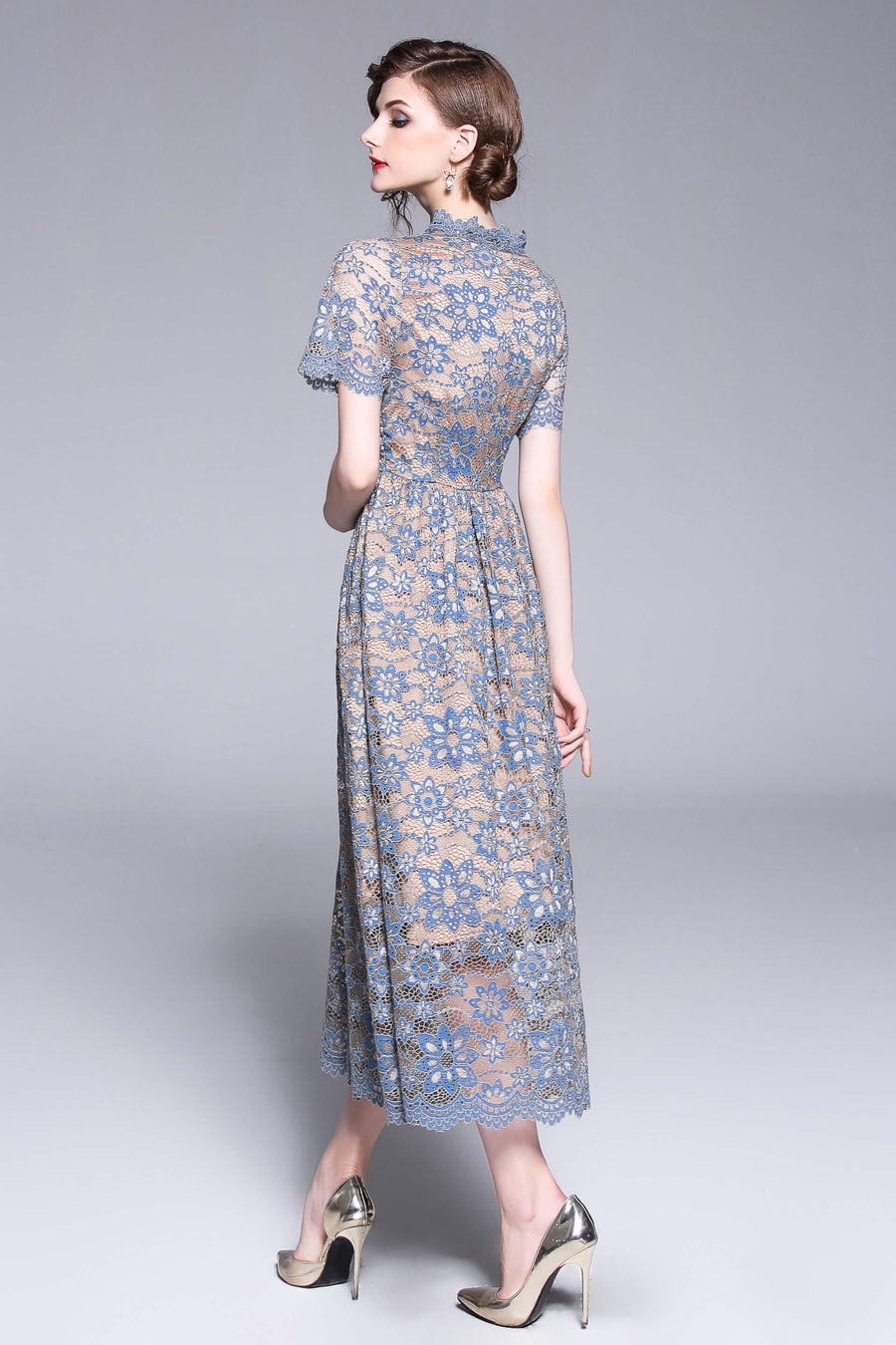 Blue Lace Floral Hollow Out Swing Dress with Buttons Front