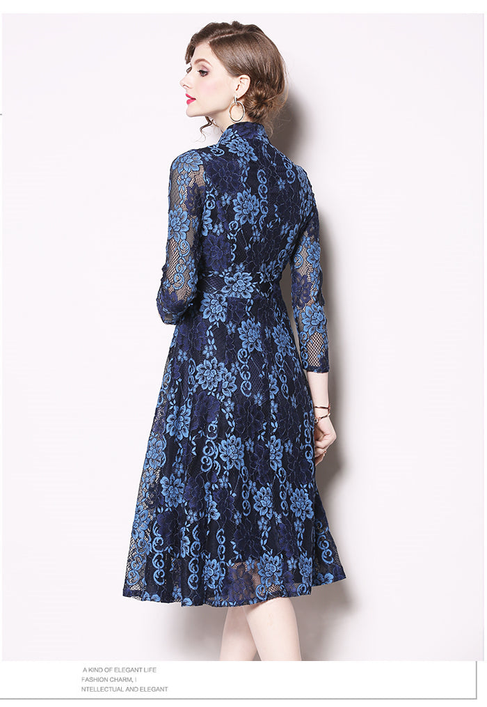 Beautiful Blue Lace Floral Hollow Out Swing A-line Party Dress
