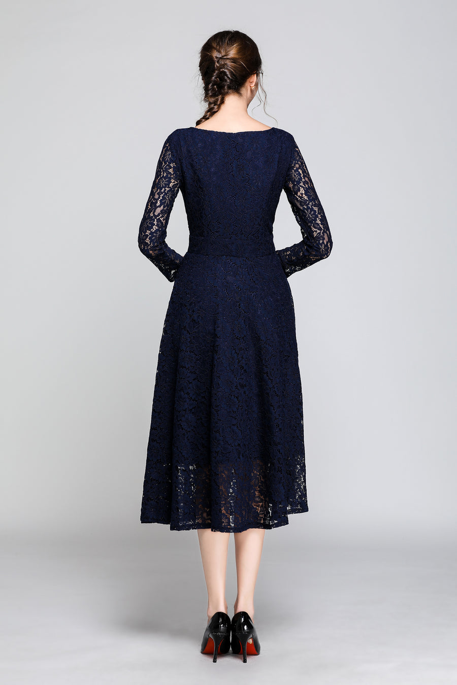 Dark Blue V-neck Lace Floral Hollow Out Midi Dress