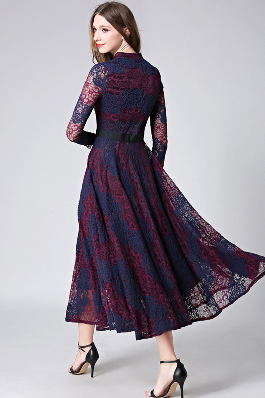 Blue and Dark Red Lace Hollow Out Maxi Dress