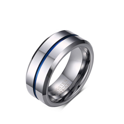 High Polished Men's Classic Tungsten Rings with IP Blue Plating(8mm)