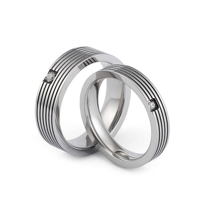 Polished Couple Titanium Rings with Cubic Zircon