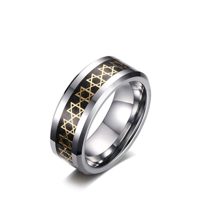 Personalized High Polished Tungsten Rings with Gold Plated Hexagram Star(8mm)