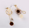 Asymmetrical Acrylic Pompon Drop Earrings
