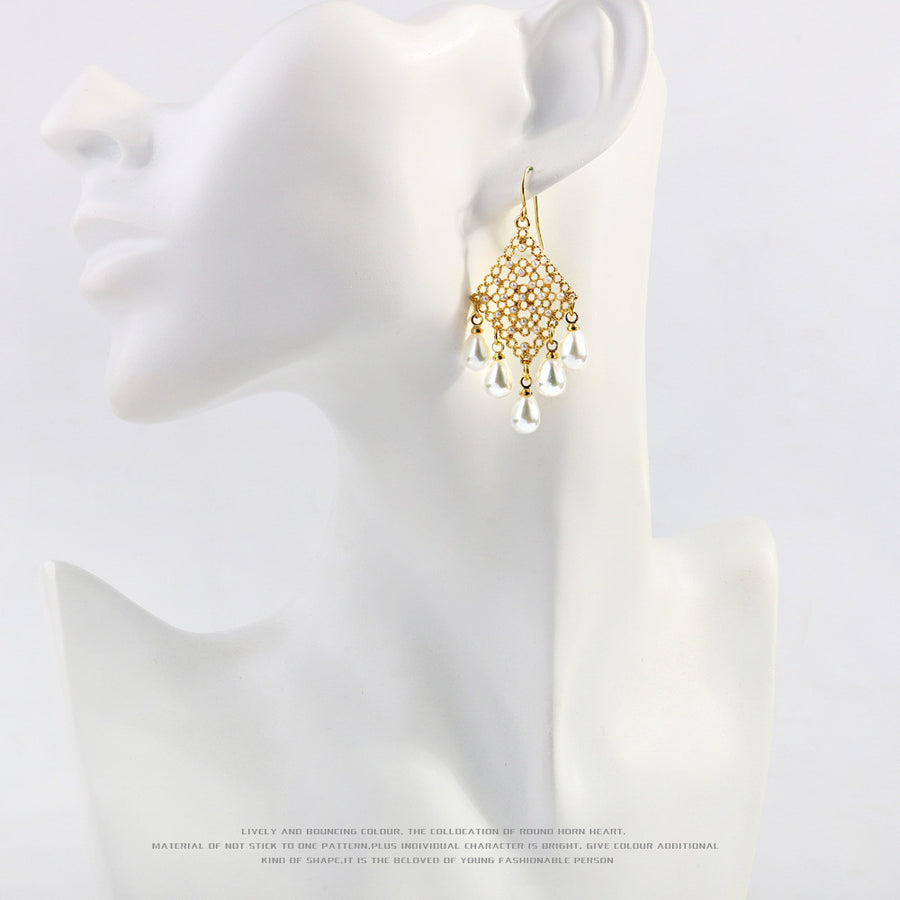 Gold Plated Filigree Pearls Drop Earrings