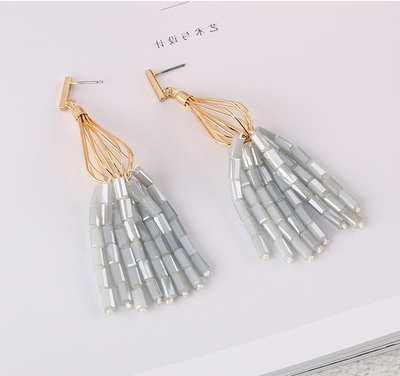 Elegant Crystal Beads Tassel Earrings