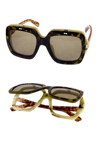 Brown GG Gucci Inspired Colorblock Flip Glasses