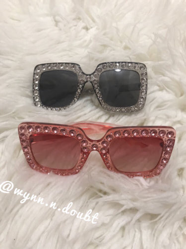 Crystal Oversized Square Sunglasses