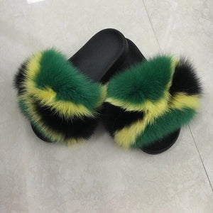 Jamaica Flag Fur Slippers
