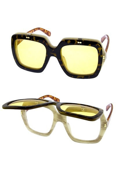 9705b477b8 Brown GG Gucci Inspired Colorblock Flip Glasses · Yellow GG Gucci Inspired  Colorblock Flip Glasses ...