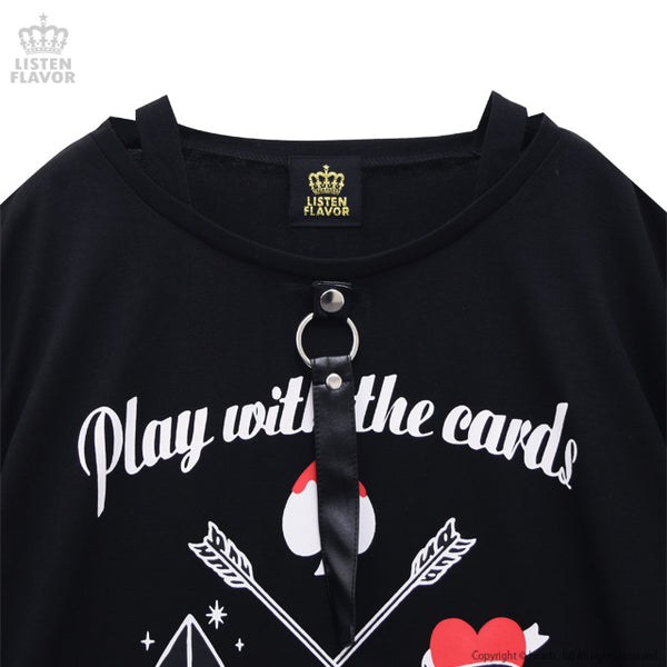 Playing Cards Roll-up Sleeves Cutsew