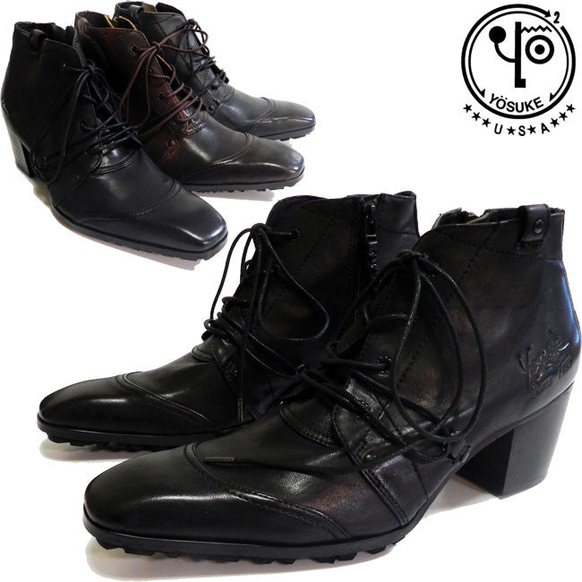 Men's Platform Leather Lace-up Boots 3300028