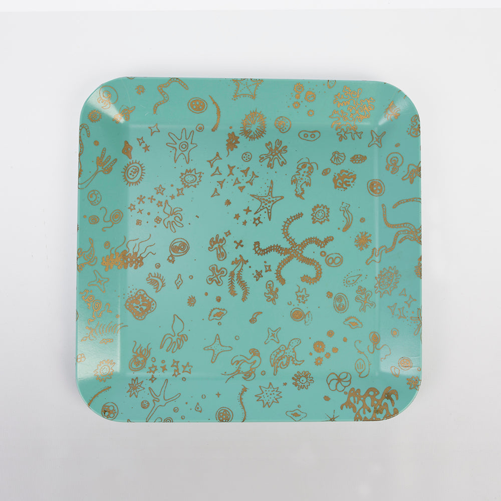 Sea Things Serving Trays Manufactured by Waverly - Turqoise & Gold - Square