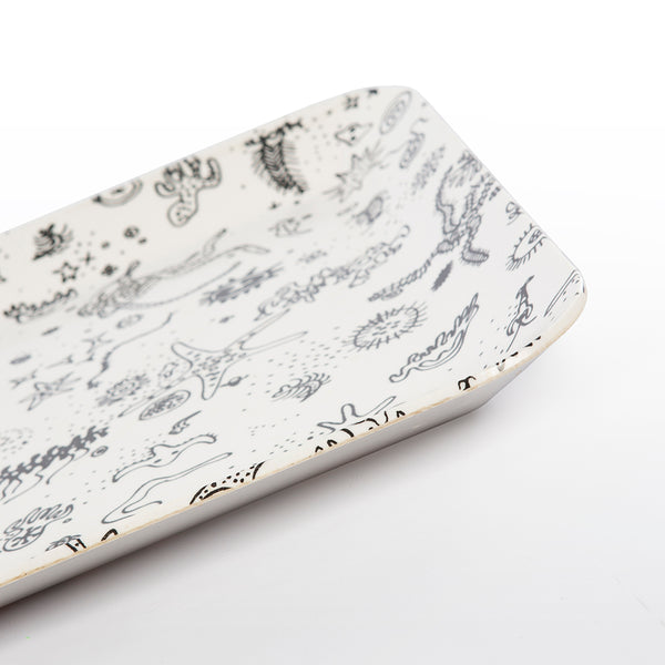 Sea Things Serving Trays Manufactured by Waverly - White & Black - Square