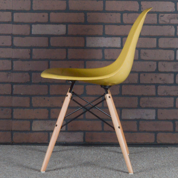 Eames for Herman Miller Fiberglass Side Chair on Wood 'Eiffel' DSW Base - Ochre