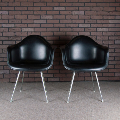 Eames for Herman Miller DAX Fiberglass Arm Chairs (pair) - Black Fiberglass & Black Vinyl