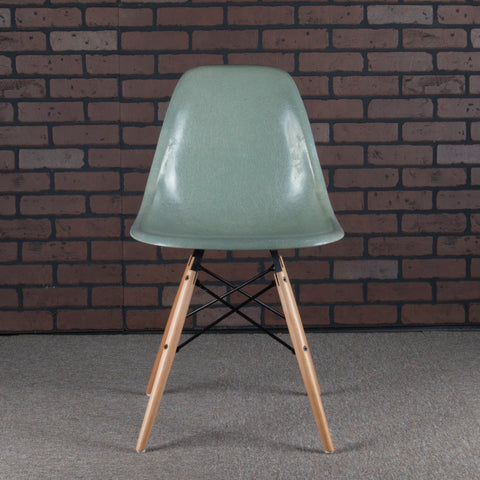 Eames for Herman Miller Fiberglass Side Chair with DSW Dowel legs - Seafoam