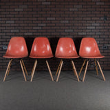 Eames DSW Fiberglass Shell Chairs for Herman Miller - Vintage Red Orange