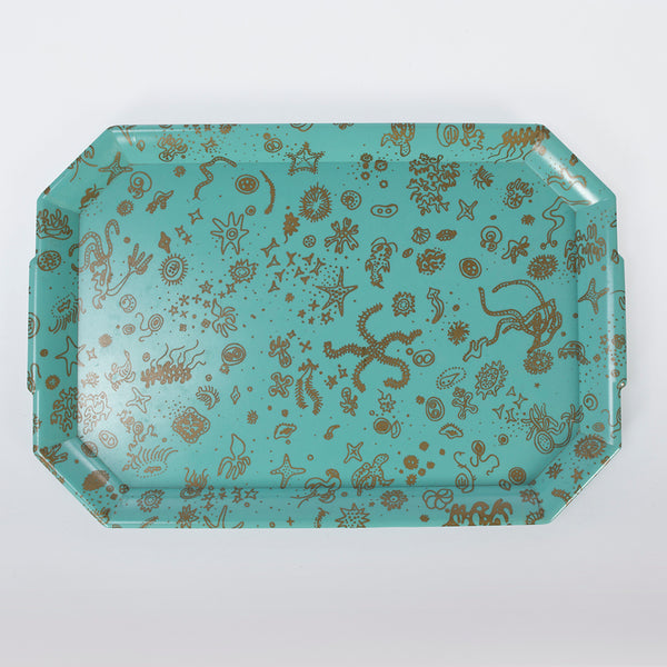 Sea Things Serving Trays Manufactured by Waverly - Turquoise & Gold- Rectangle