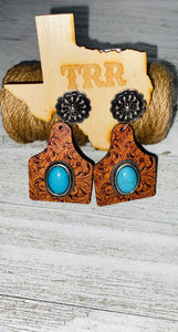 Tooled ear tag earring