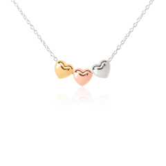 Three Puff Heart Necklaces