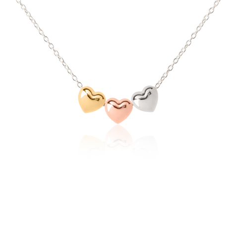 Tween Heart Necklace - three-toned necklace