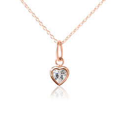 Children's Sparkle Heart Necklace in Rose Gold