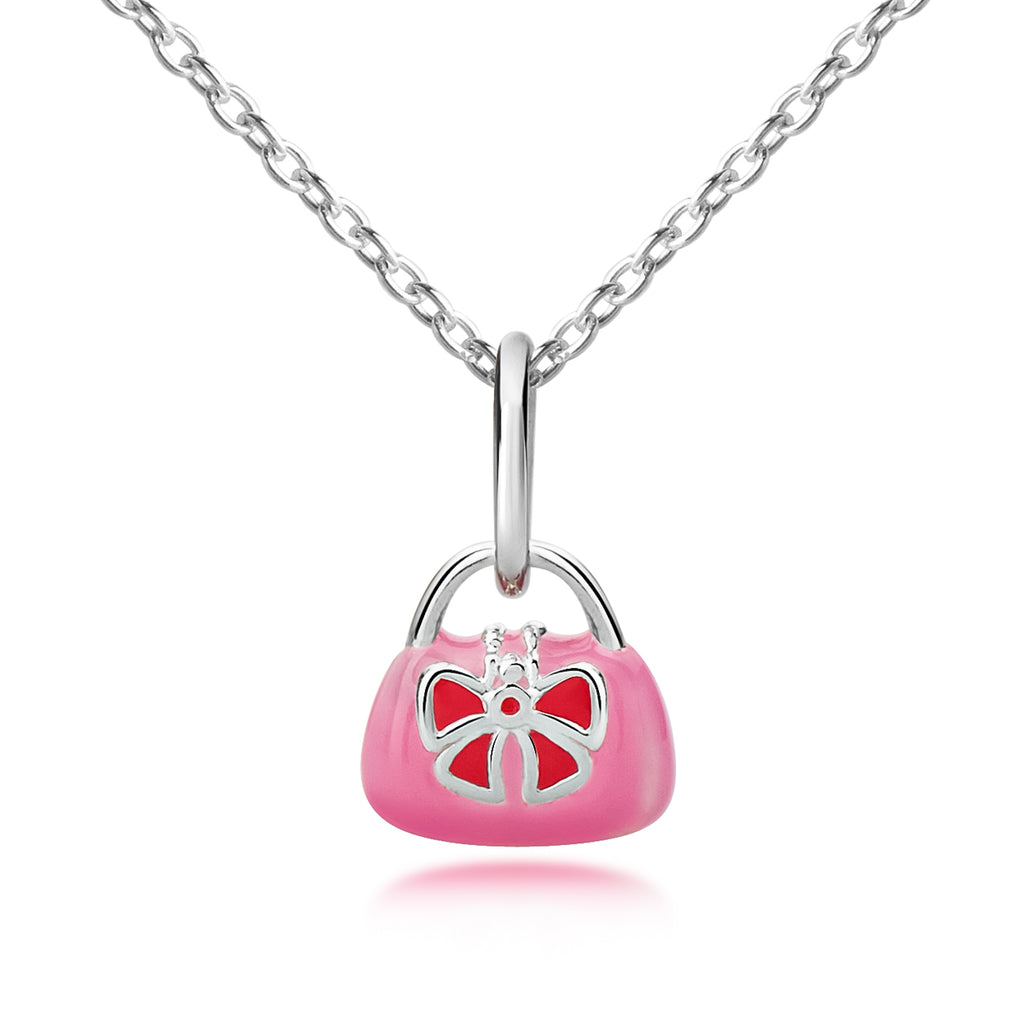 Silver and Pink Handbag Pendant & Necklace
