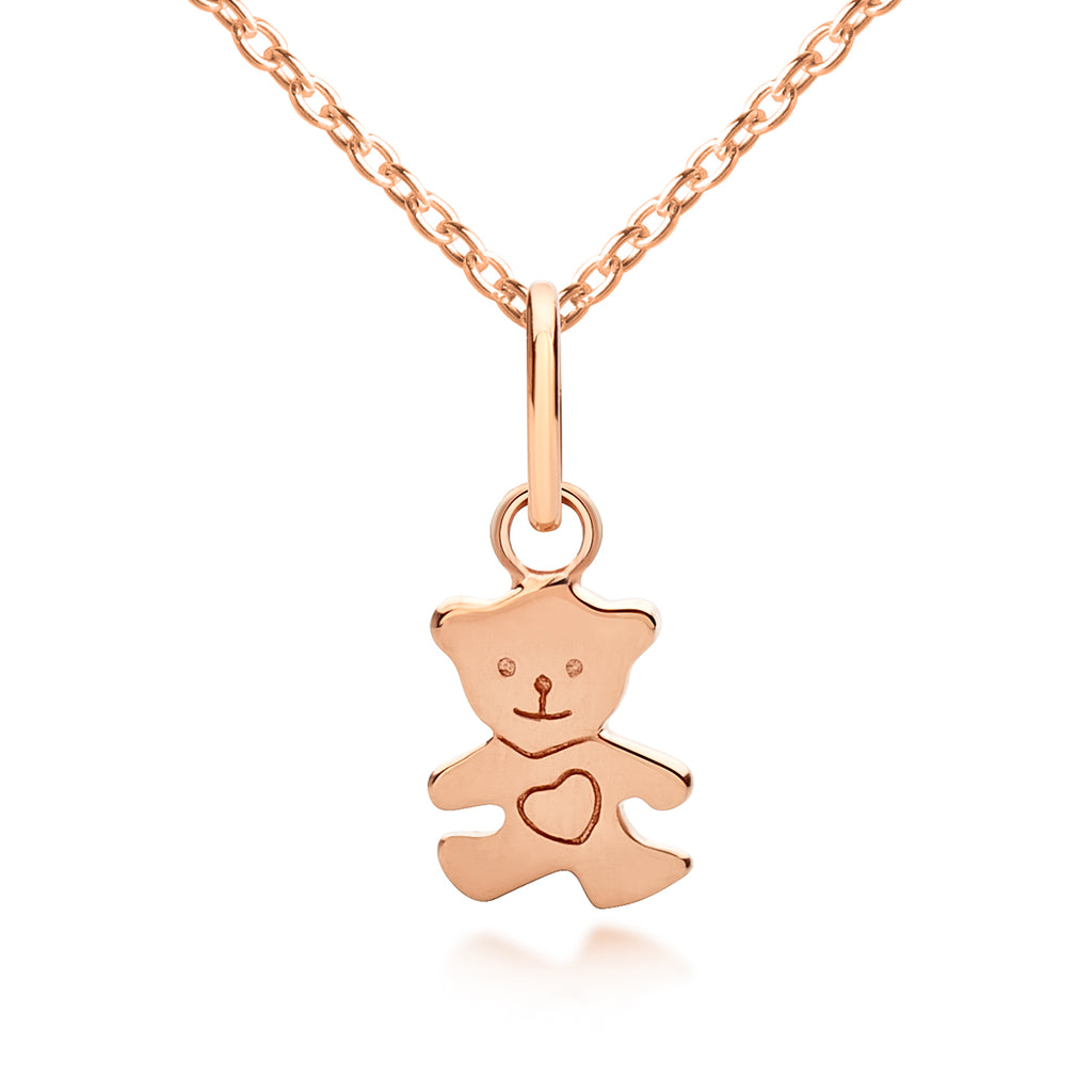 I (heart) Teddy Bear Pendant & Necklace - Rose Gold