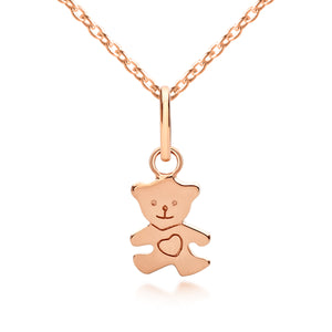 Children's Teddy Bear Necklace - Rose Gold pendant