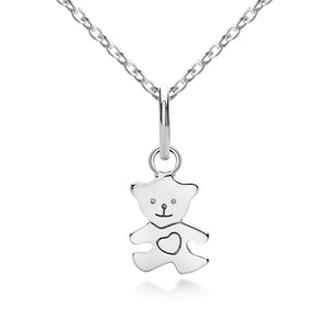 Teddy Bear Pendant & Necklace in Silver