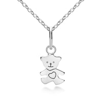 Children's Teddy Bear Pendant Silver
