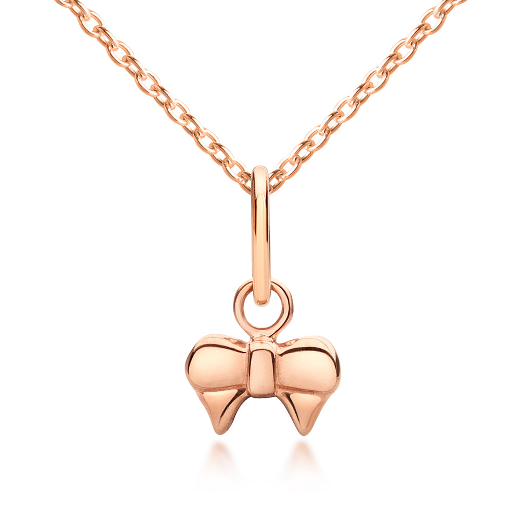 Girl's Jewellery. Bow Pendant, Rose Gold Jewellery