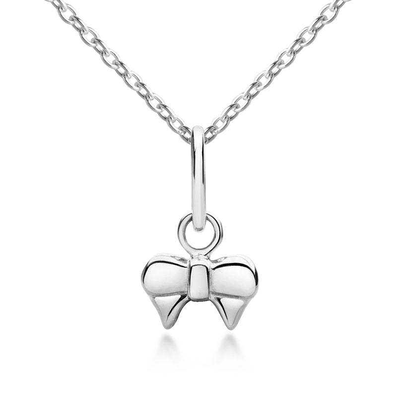 Ribbon Bow Pendant & Necklace - Silver
