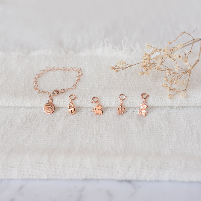 Little Good Luck Elephant Charm - Rose Gold Vermeil