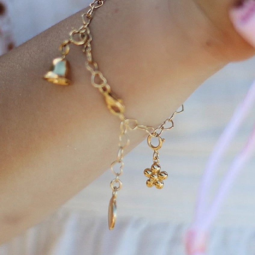 Children's Gold Flower Charm for charm bracelet