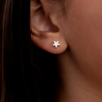 Floating Star Stud Earrings - Sterling Silver