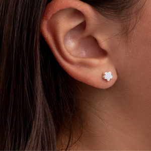 Floating Flower Stud Earrings - Sterling Silver