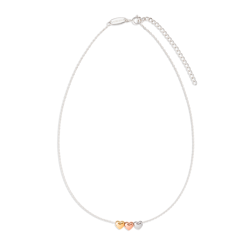 Children's Heart Necklace - Three hearts, three-toned jewellery