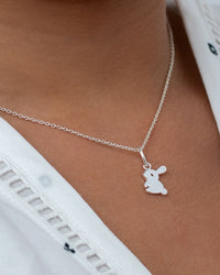 Fluffy Bunny Rabbit Pendant & Necklace - Sterling Silver