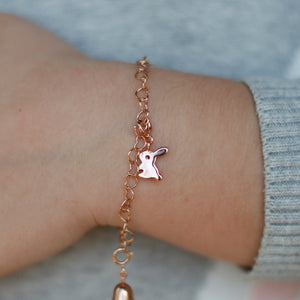 Children's Bunny Charm Rose Gold on Charm Bracelet