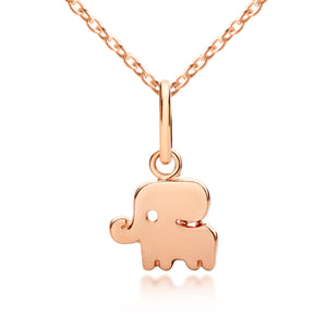 18 karat rose gold children's elephant pendant