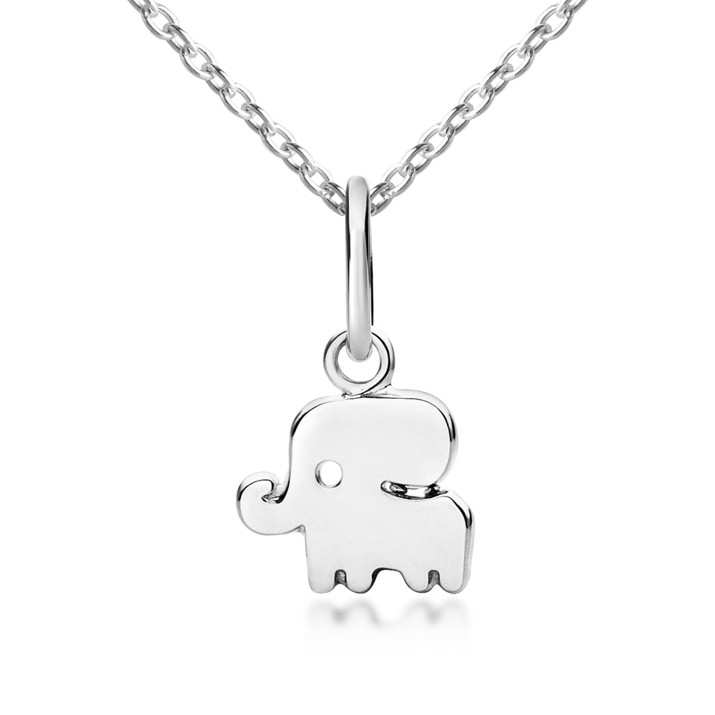 Little Good Luck Elephant Pendant & Necklace - Silver