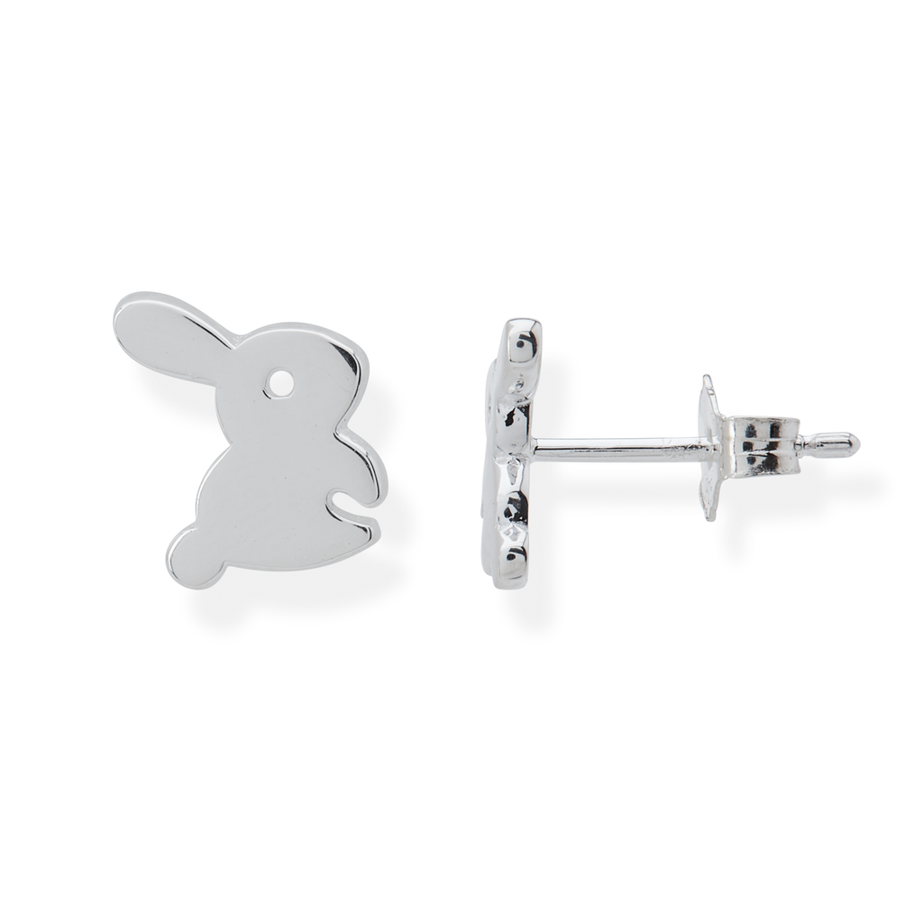 Fluffy Bunny Rabbit Stud Earrings - Sterling Silver