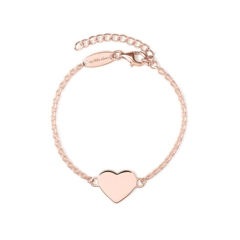 Glossy Heart Bracelet - Rose Gold