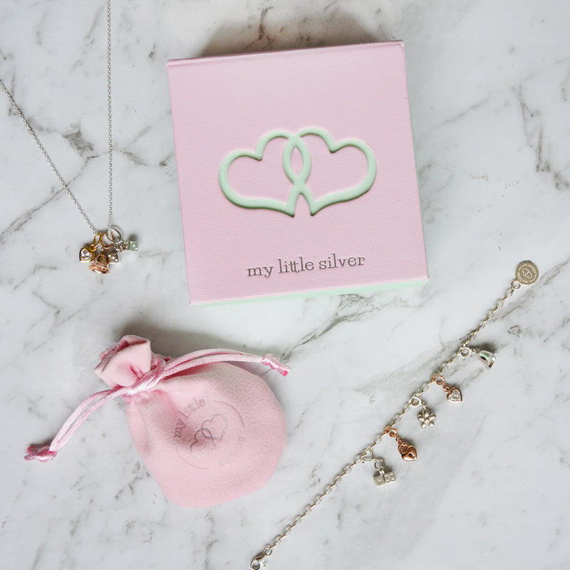 Silver and Pink Handbag Pendant & Necklace Gift Box